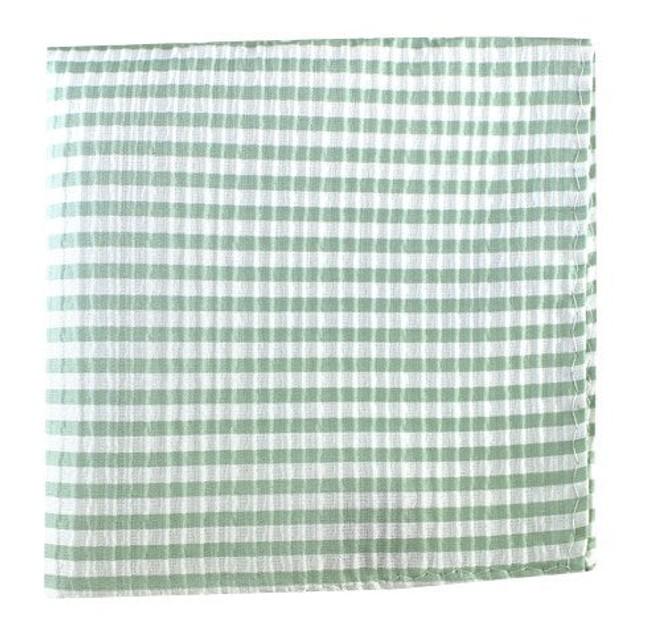 Silk Seersucker Stripe Spring Mint Pocket Square
