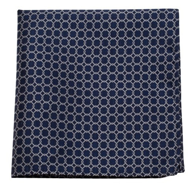 Chain Reaction Navy Pocket Square