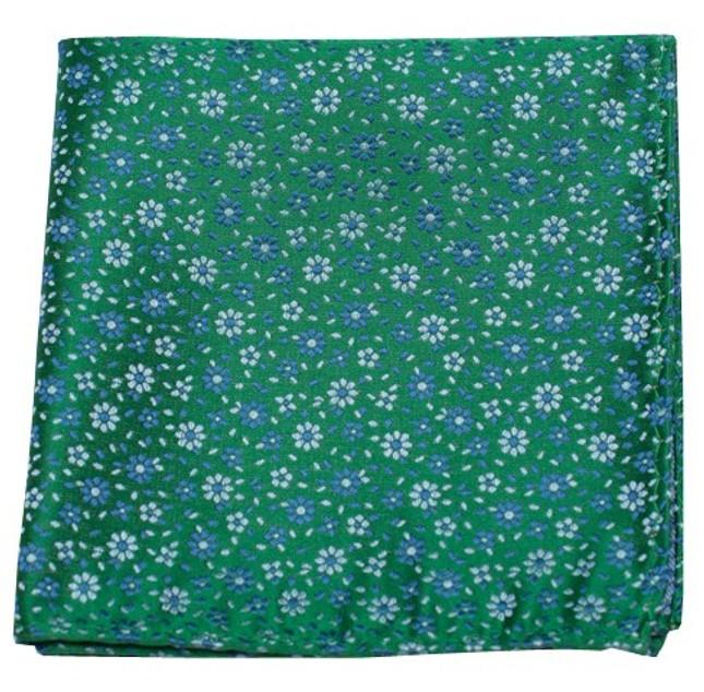 Milligan Flowers Emerald Green Pocket Square