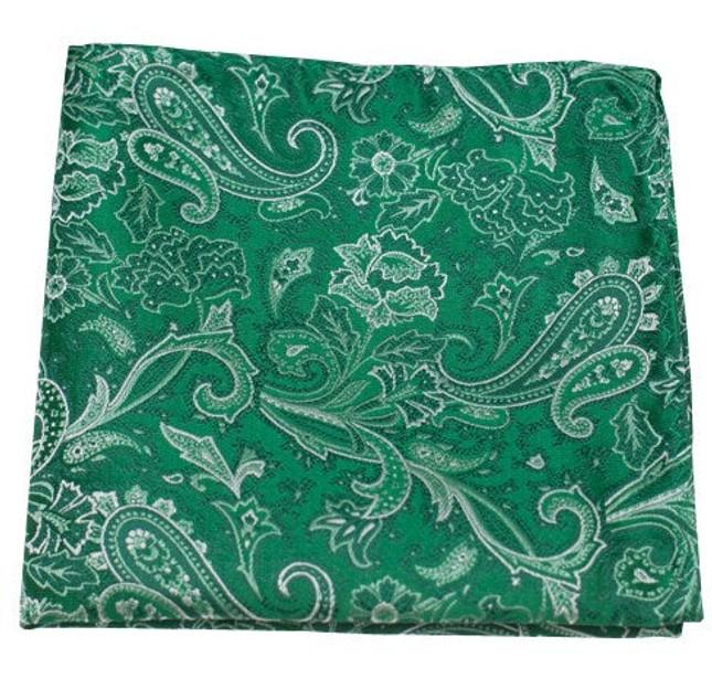 Tudor Paisley Emerald Green Pocket Square