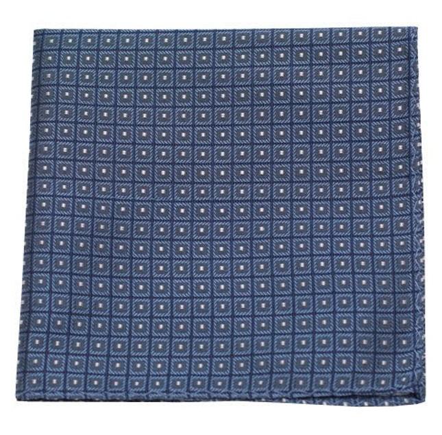 Wacker Drive Checks Blue Pocket Square