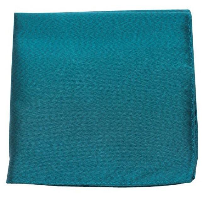 Melange Twist Solid Green Teal Pocket Square