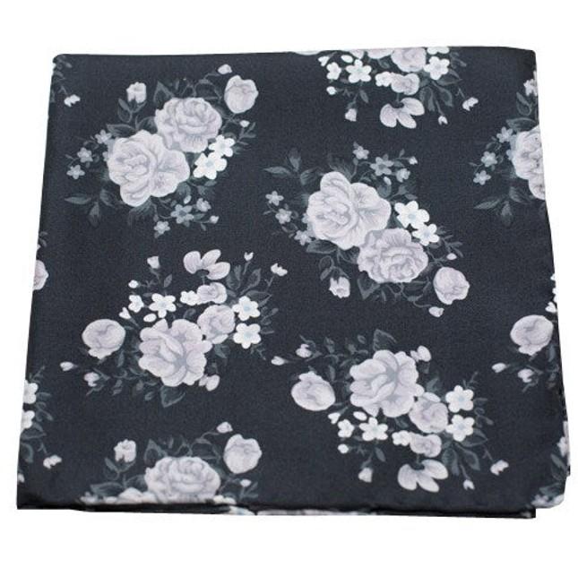 Hinterland Floral Black Pocket Square