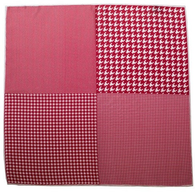 Houndstooth Panel Red Pocket Square