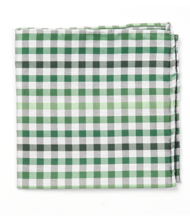 Gibson Check Green Pocket Square