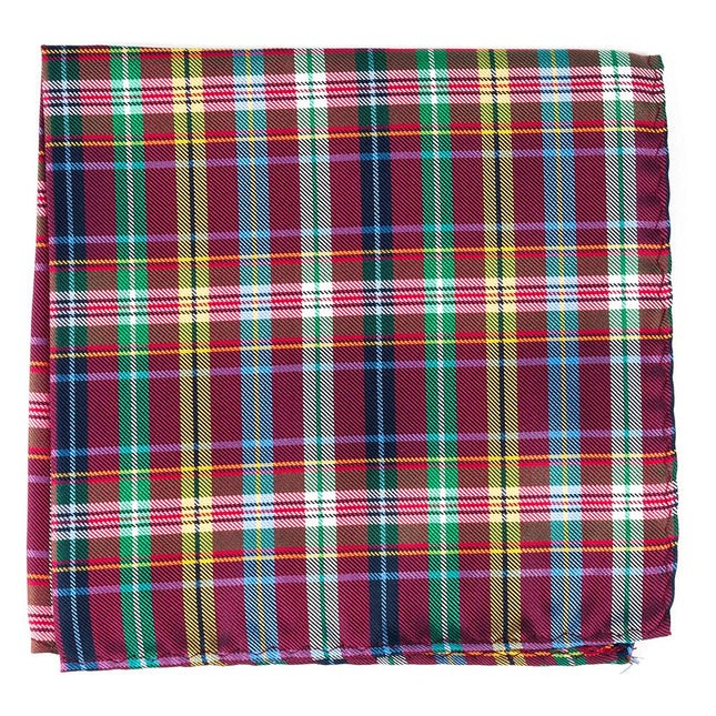 Corrigan Plaid Red Pocket Square