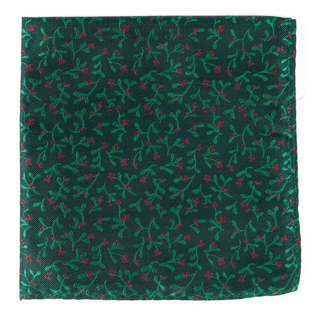 Mistletoe Madness Hunter Green Pocket Square