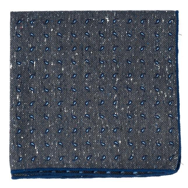 Paisley Timber Deep Slate Blue Pocket Square