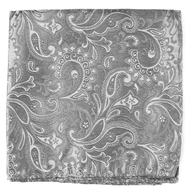 Custom Paisley Silver Pocket Square