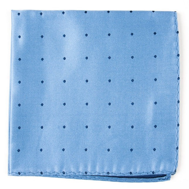 Satin Dot Light Blue Pocket Square