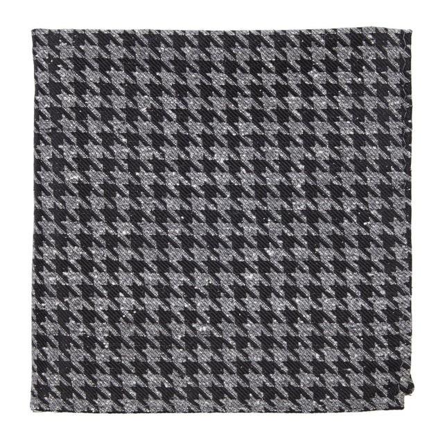 Houndstooth Thrill Black Pocket Square