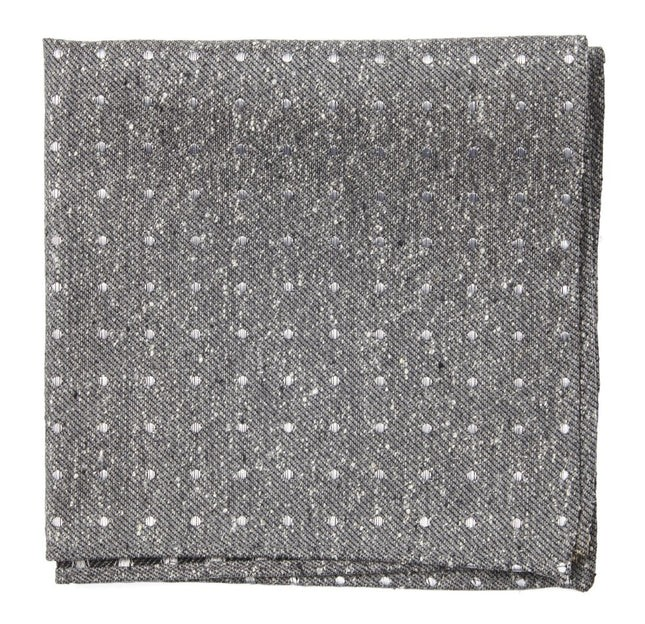 Knotted Dots Grey Pocket Square