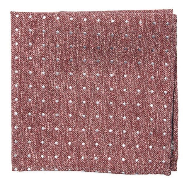 Knotted Dots Raspberry Pocket Square