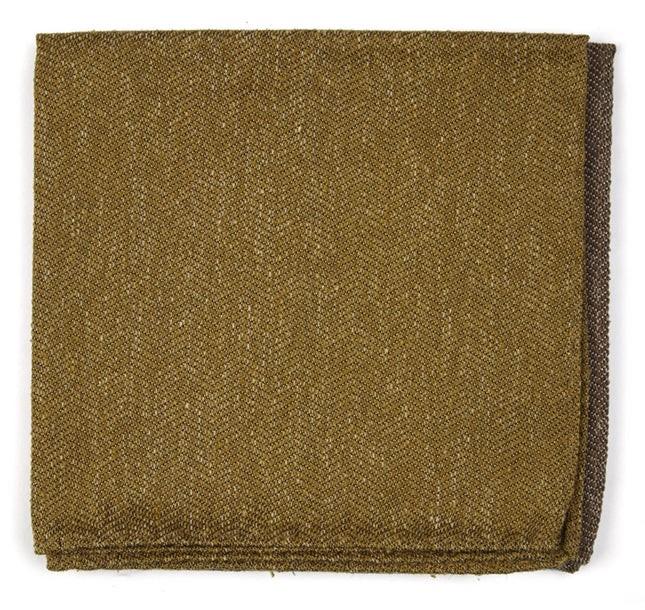 Threaded Zig-Zag Mustard Pocket Square