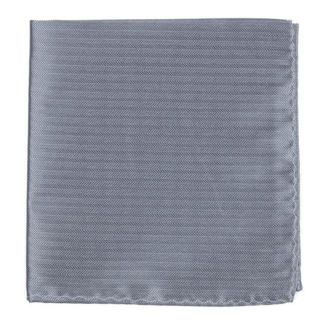 Sound Wave Herringbone Silver Pocket Square