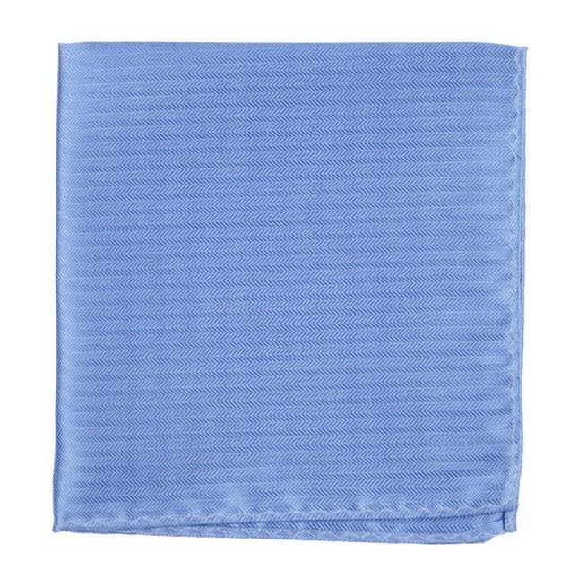 Sound Wave Herringbone Light Blue Pocket Square
