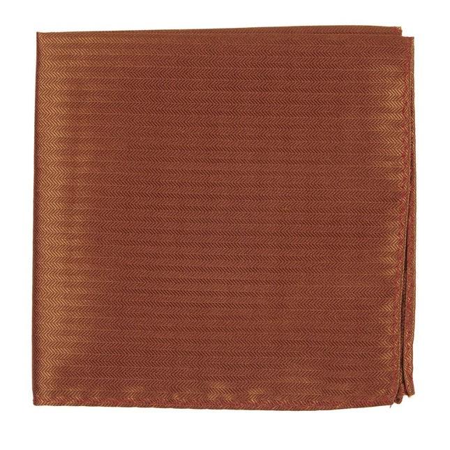 Sound Wave Herringbone Burnt Orange Pocket Square