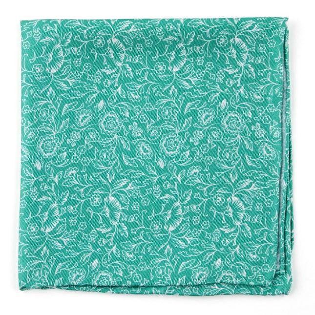 Bracken Blossom Kelly Green Pocket Square