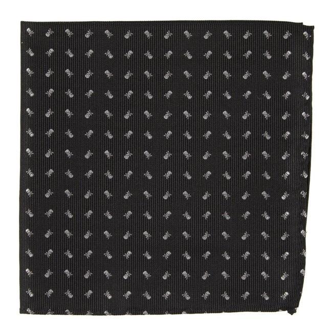 Mini Skull And Crossbones Black Pocket Square