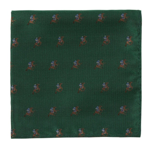 Horse Racing Emerald Green Pocket Square