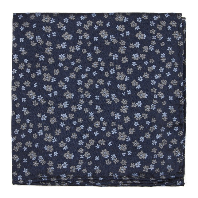 Free Fall Floral Navy Pocket Square