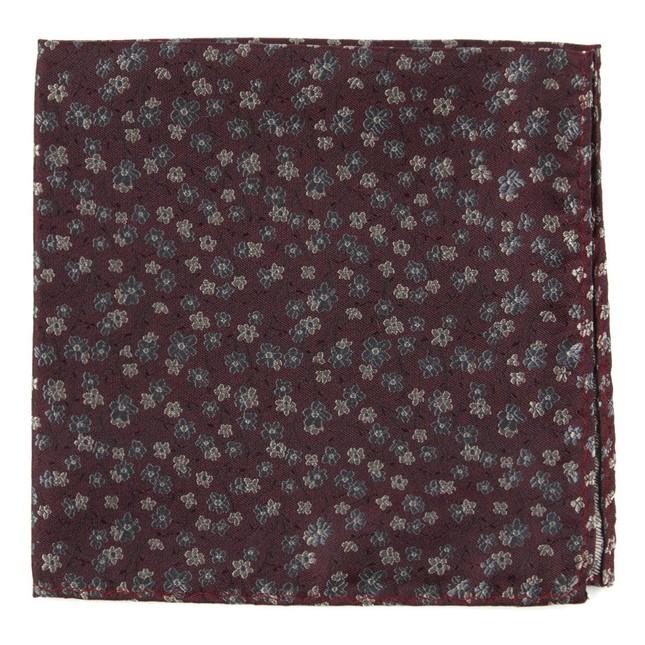 Free Fall Floral Burgundy Pocket Square