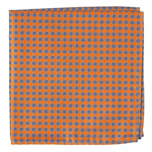Commix Checks Tangerine Pocket Square