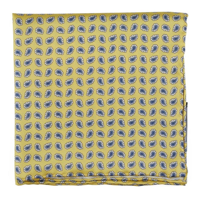 Fringe Paisley Yellow Pocket Square
