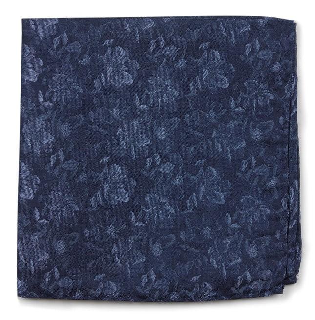 Ramble Floral Navy Pocket Square