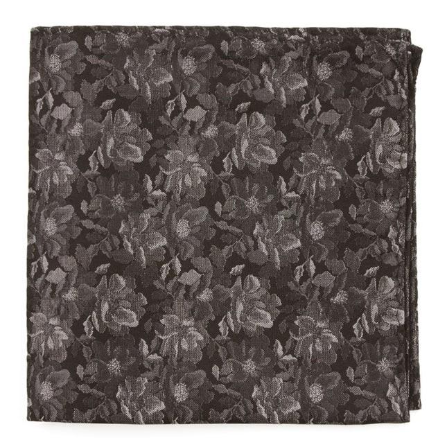Ramble Floral Black Pocket Square