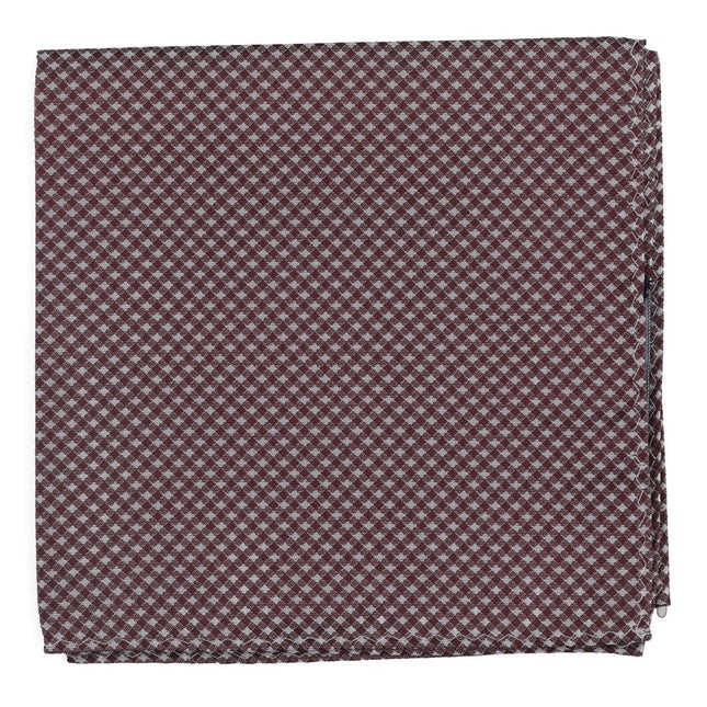 Be Married Checks Wine Pocket Square