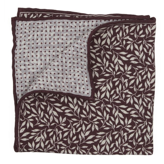 Domino Sprout Burgundy Pocket Square
