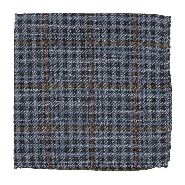 Quinn Plaid Light Blue Pocket Square