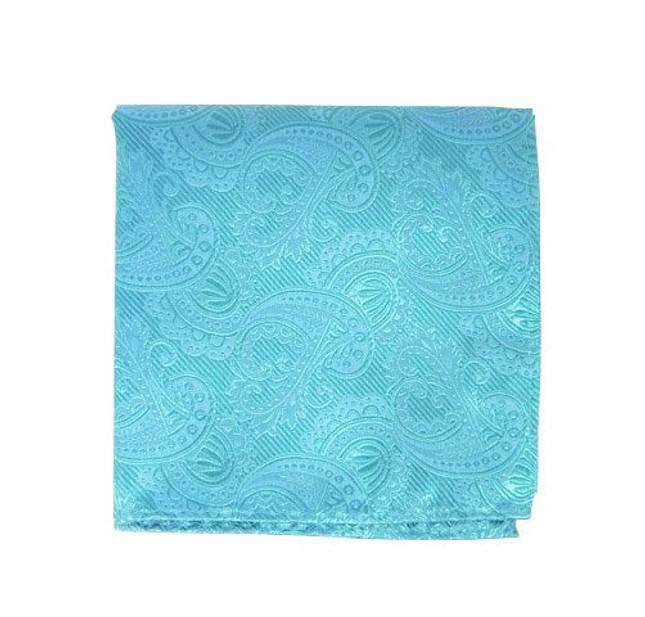Twill Paisley Aqua Pocket Square