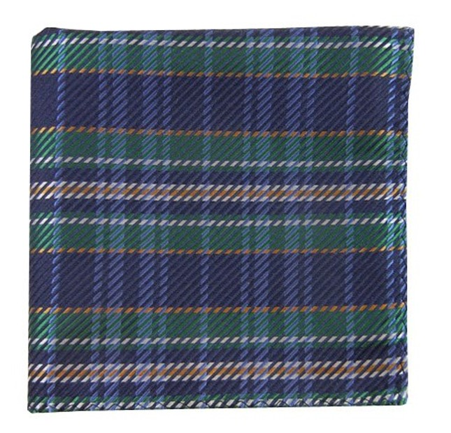 English Plaid Navy Pocket Square