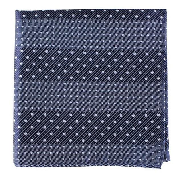 Pulsating Dots Washed Navy Pocket Square