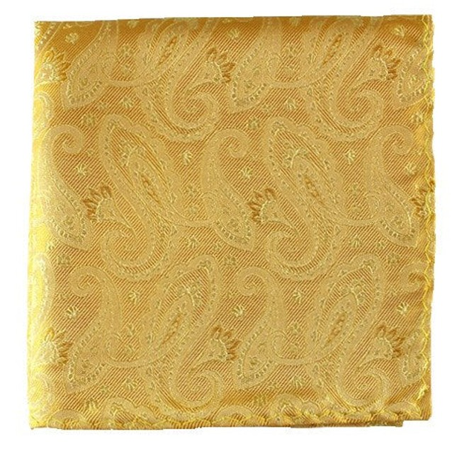 Platform Paisley Gold Pocket Square