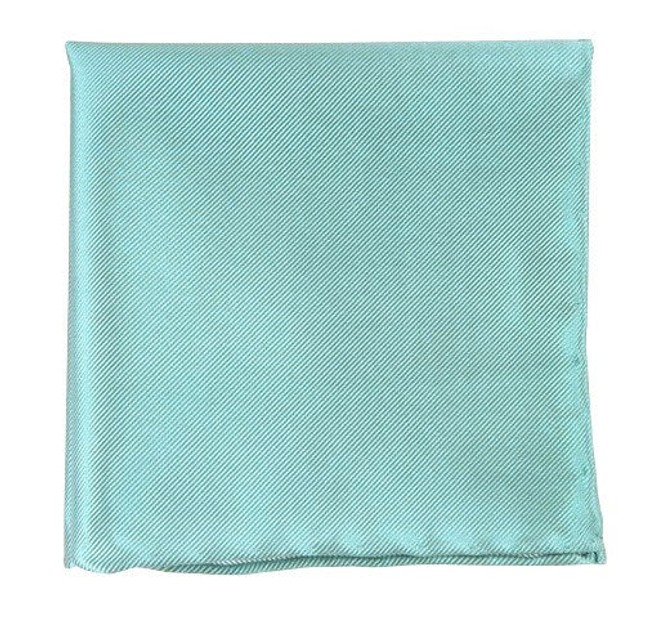 Solid Twill Aqua Pocket Square