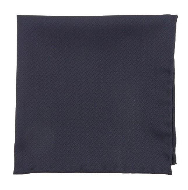 Midnight Navy Herringbone Blue Pocket Square