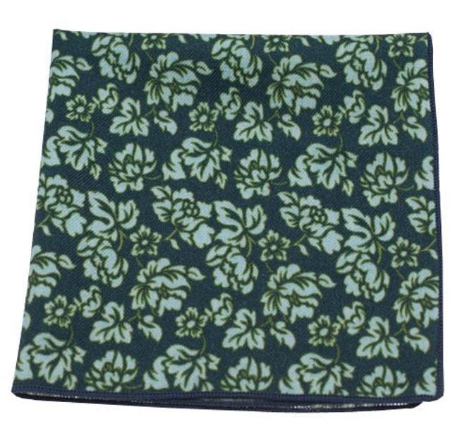 Serpentine Floral Deep Green Teal Pocket Square