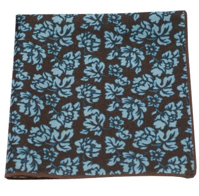 Serpentine Floral Chocolate Brown Pocket Square