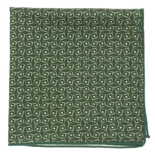 Vexed Geo Dark Clover Green Pocket Square