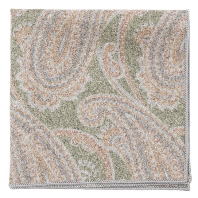 Printed Flannel Paisley Green Pocket Square