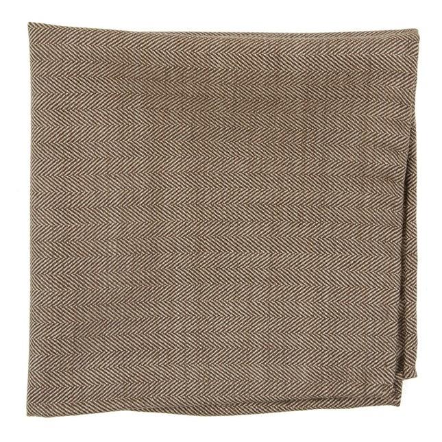 Hayman Herringbone Chocolate Brown Pocket Square