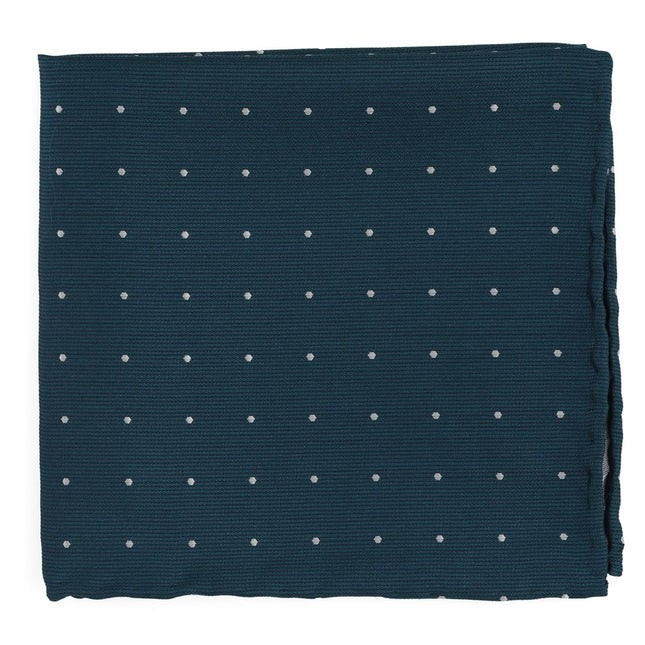 Dotted Report Teal Pocket Square