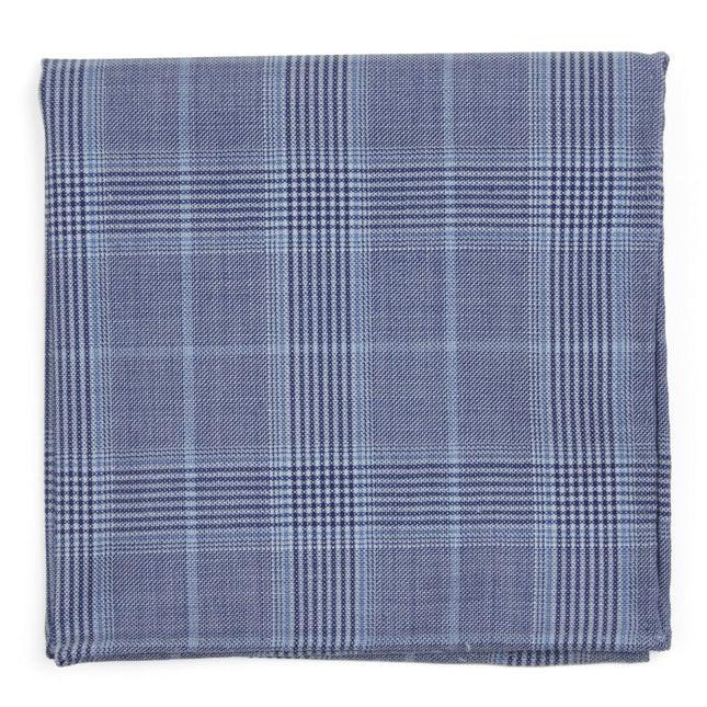 Blue Line Plaid Light Blue Pocket Square