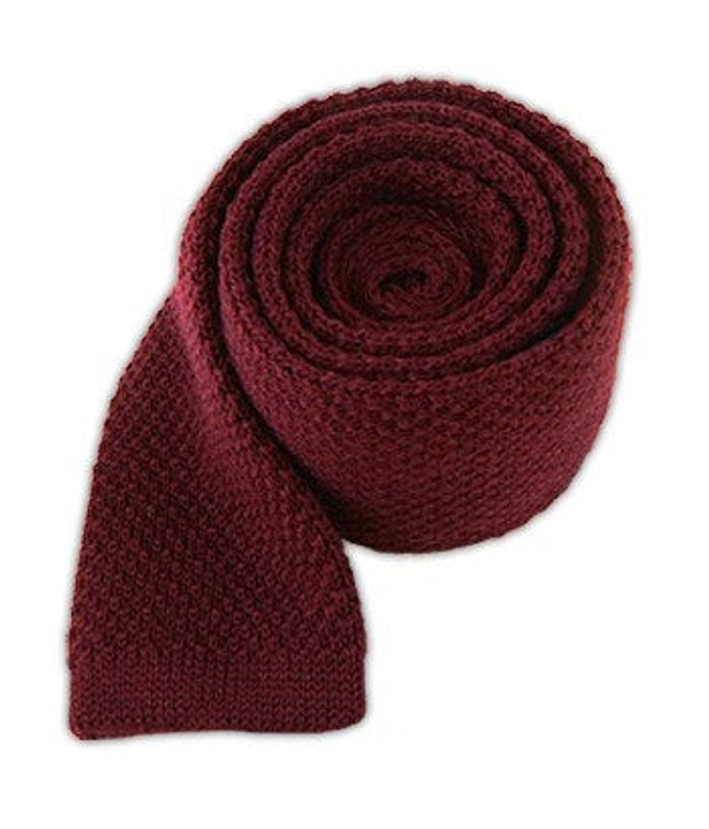 Knit Solid Wool Red Wine Tie