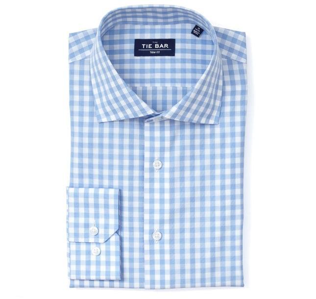 Classic Gingham Sky Blue Non-Iron Dress Shirt
