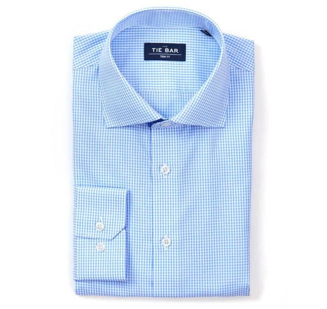 Petite Gingham Sky Blue Non-Iron Dress Shirt