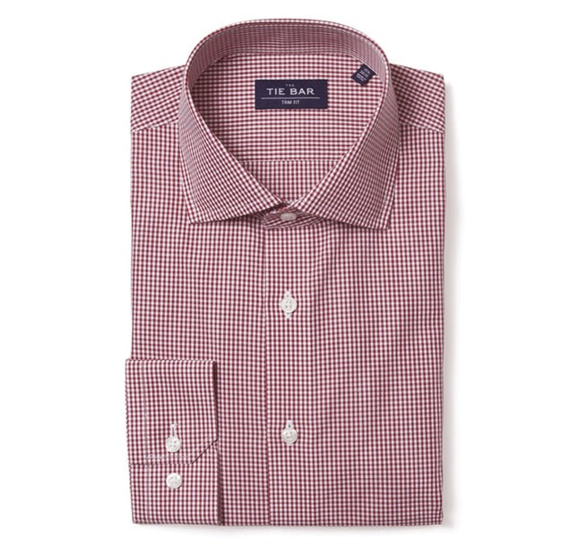 Petite Gingham Burgundy Non-Iron Dress Shirt